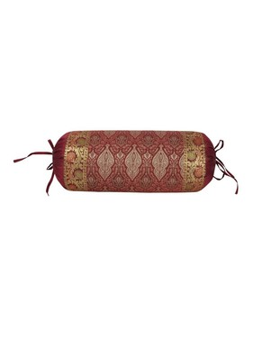 Lal Haveli Room Decorative Silk Fabric Designer Bolster Pillow Cover 30 x 15 inch