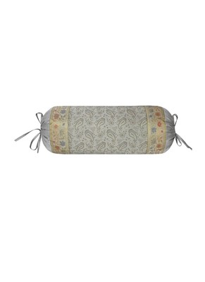 Lal Haveli Rajasthani Designer Grey Silk Bolster Cushion Cover 30 x 15 inch