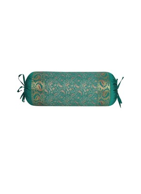 Lal Haveli Decorative Paisley Design Silk Bolster Pillow Cover 30 x 15 Inch