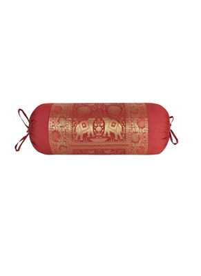Lal Haveli Room Decorations Elephant Design Maroon Color Silk Bolster Pillow Cover 30 x 15 Inch