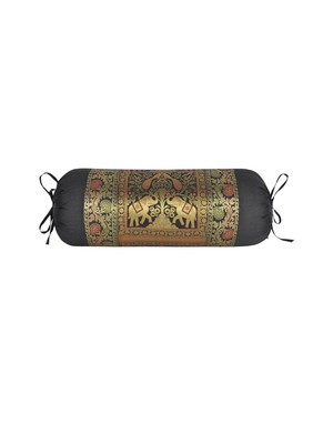Lal Haveli Elephant & Peacock Design Decorative Silk Bolster Pillow Cover 30 x 15 Inch