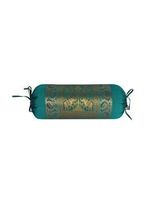 Lal Haveli Room Decorative Handmade Elephant & Peacock Silk Bolster Pillow Cover 30 X 15 Inch