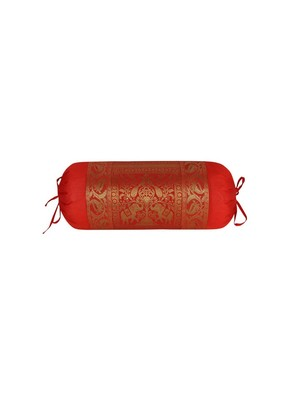 Lal Haveli Silk Fabric Elephant & Peacock Design Red Bolster Pillow Cover 30 x 15 Inch