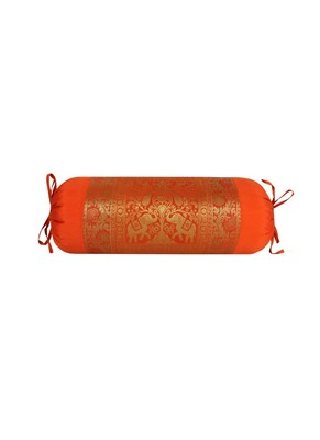 Lal Haveli Orange Silk Bolster Pillow Cover for Diwan Bed Sofa Decor 30 x 15 Inch