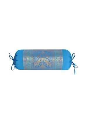Lal Haveli Handmade Elephant Peacock Design Silk Fabric Round Bolster Pillow Cover 30 x 15 Inch