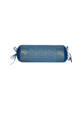 Lal Haveli Paisley Design Silk Bolster Pillow Cover 30 x 15 Inch