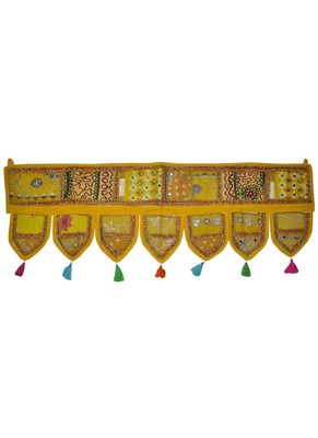 Vintage Door Hanging Zari Embroidery Patchwork Tapestry 43 By 16 Inches