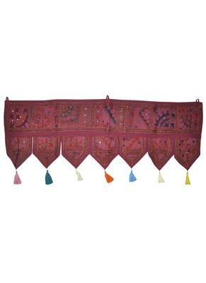 Handmade Embroidered Cotton Mirror Work Door Hanging Toran 42 By 16 Inches