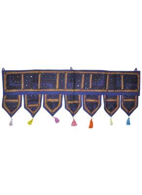 Decorative Cotton Mirror Work Embroidered Door Hanging Toran 42 By 16 Inches