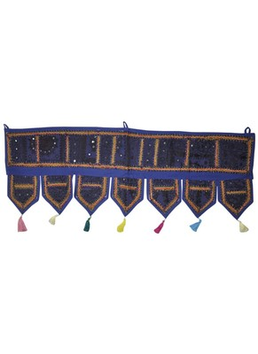 Mirror Work Embroidered Cotton Door Hanging Toran 42 By 16 Inches