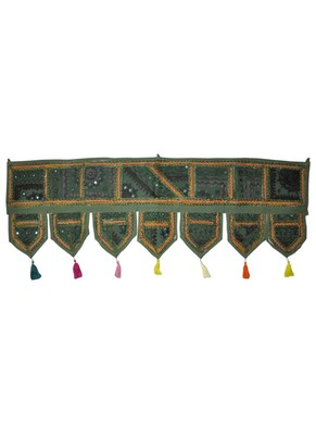 Lal Haveli Elegant Cotton Mirror Work Embroidered Door Hanging Toran 42 By 16 Inches