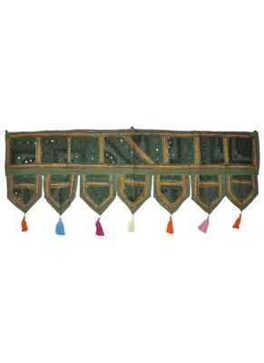 Cotton Mirror Work Embroidered Designer Door Hanging Toran 42 By 16 Inches