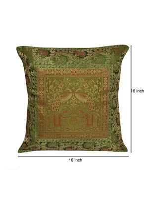 Lal Haveli Decorative Elephant Peacock Square Silk Cushion Cover 16 X 16 inches
