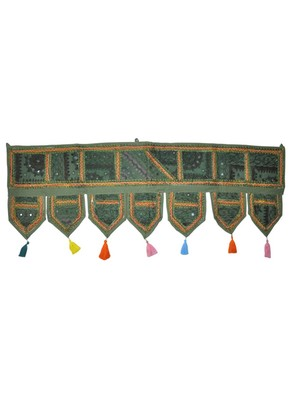 Traditional Mirror Work Embroidery Cotton Door Hanging Toran 42 By 16 Inches