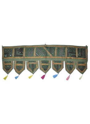 Handmade Mirror Work Embroidered Cotton Door Hanging Toran 42 By 16 Inches