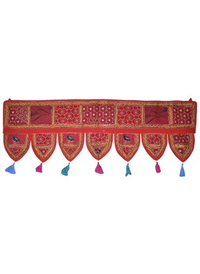 Handmade Patchwork Embroidery Cotton Door Hanging 42 By 16 Inches