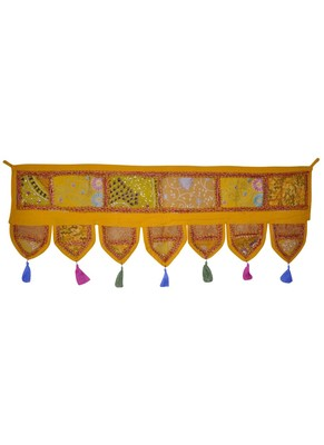 Rajasthani Patchwork Embroidery Cotton Door Hanging 42 By 16 Inches