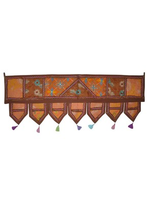 Unique Jaipuri Embroidery Patchwork Cotton Door Hanging 42 By 16 Inches