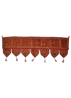 Traditional Embroidered Patchwork Design Cotton Door Valance 107 x 40 Cm