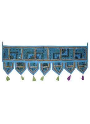 Indian Handmade Embroidery Patchwork Decorative Cotton Door Valance 107 x 40 Cm