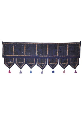 Rajasthani Handmade Embroidery Mirror Work Design Door Valance 107 x 40 Cm