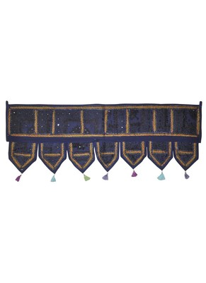 Traditional Patchwork Decorative Cotton Door Valance Brown Color 107 x 40 Cm