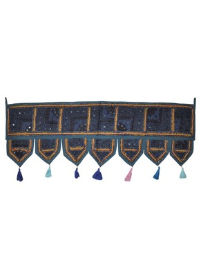 Lalhaveli Ethnic Patchwork Mirror Work Cotton Door Hanging 42 By 16 Inches Blue