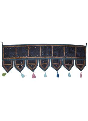 Lalhaveli Ethnic Patchwork Mirror Work Cotton Door Hanging 42 By 16 Inches