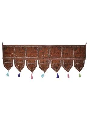 Lalhaveli Handmade Patchwork Mirror Work Cotton Door Hanging 42 By 16 Inches ...