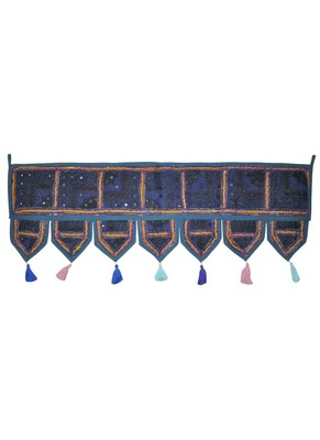 Lalhaveli Vintage Patchwork Mirror Work Cotton Door Hanging 42 By 16 Inches Blue