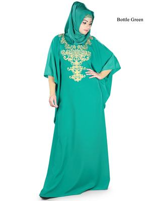 MyBatua Ayana Bottle Green Kaftan
