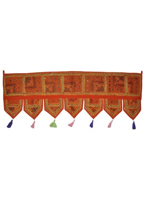Lalhaveli Vintage Patchwork Mirror Work Cotton Door Hanging 42 By 16 Inches O...