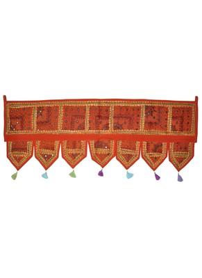 Lalhaveli Designer Patchwork Mirror Work Cotton Door Hanging 42 By 16 Inches ...