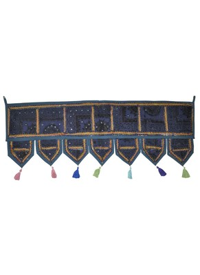 Lalhaveli Traditional Patchwork Mirror Work Cotton Door Hanging 42 By 16 Inch...