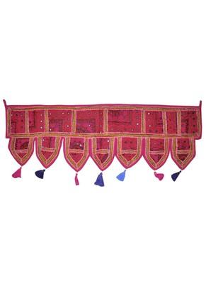 Designer Handmade Embroidered Mirror Work Cotton Door Toran 42 X 16 Inches