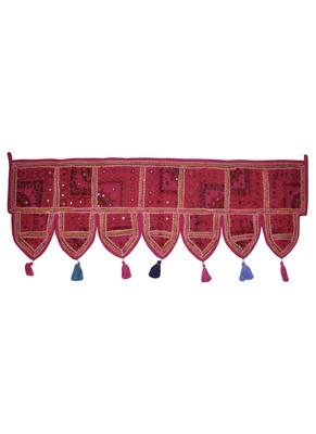 Patchwork Embroidery Design Mirror Work Door Hanging Toran 42 X 16 Inches