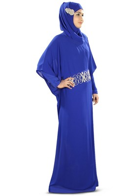 MyBatua Nazeeha Hand Embroidered Royal Blue Kaftan