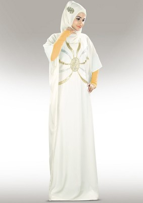 MyBatua Shahnoor Hand Embroidered Off White Kaftan