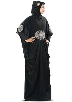 MyBatua Amara Silver Embroidered Black Kaftan