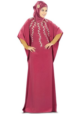 MyBatua Rubaa Hand Embroidered Rose Pink Kaftan