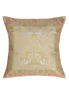 Lal Haveli Elephant Design Silk Cushion Cover for Living Room Decorations 16 x 16 inch