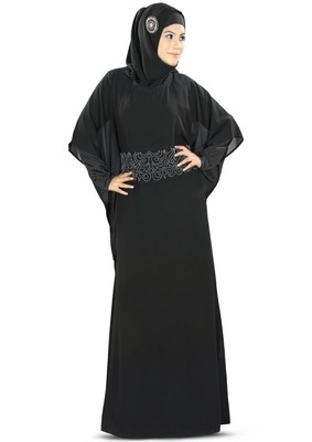 MyBatua Anum Hand Embroidered Black Kaftan