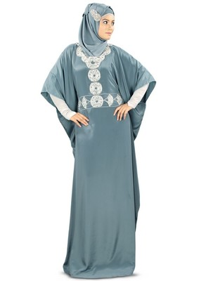 MyBatua Liyana Hand Embroidered Grey Kaftan