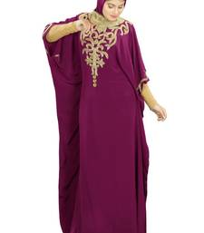 MyBatua Nayyab Hand Embroidered Wine Kaftan