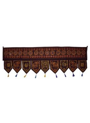 Vintage Handmade Embroidery Work Design Cotton Door Hanging 54 X 18 Inches