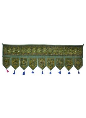 Embroidered Design Cotton Vintage Mirror Work Door Hangings 54 X 18 Inches