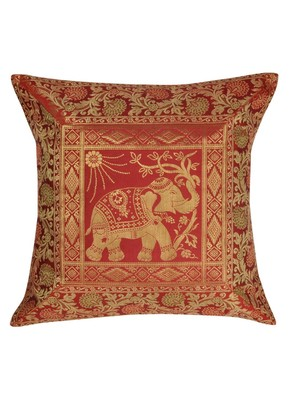 Lal Haveli Traditional Elephant Silk Cushion Cover Square 16 x 16 inch