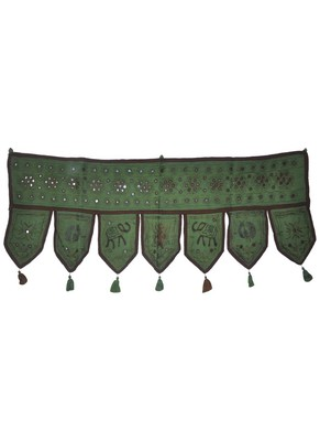 Vintage Handmade Mirror Embroidery Work Design Door Hanging 16 X 39 Inches