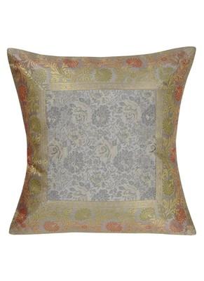 Lal Haveli Rajasthani Handmade Home Decorative Silk Throw Pillow Cushion Cover 16 x 16 inch