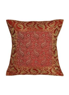 Lal Haveli Room Decorative Throw Pillow Silk Cushon Cover 16 x 16 inch